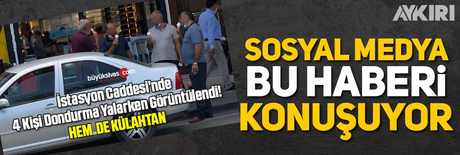 """Sivas'ın yerel gazetesi: """"4 kişi külahta dondurma yerken görüntülendi"""""""