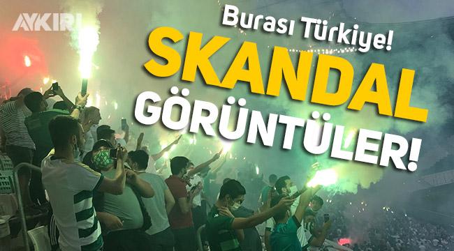 Bursa'da skandal görüntüler: Stada taraftar yığdılar!