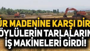 Kömür madenine karşı direnen köylülerin tarlalarına iş makineleri girdi!