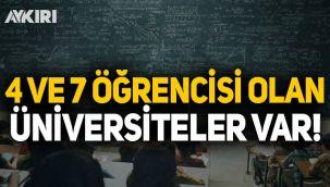 4, 7 ve 78 öğrencisi olan üniversiteler var