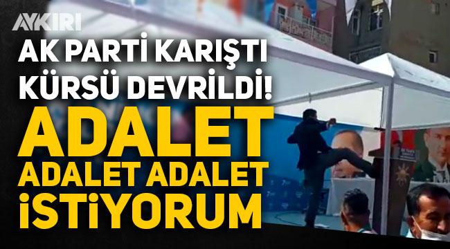 """AK Parti'de gerginlik, adaylığı düşürülen partili """"Adalet, adalet, adalet istiyorum"""" diyerek kürsüyü devirdi"""