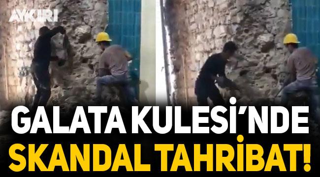 Galata Kulesi'ndeki 'restorasyon' sırasında tahribat!