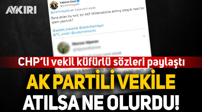 CHP'li vekil Yıldırım Kaya, küfürlü sözleri paylaştı: AK Partili vekile atılsa ne olurdu?