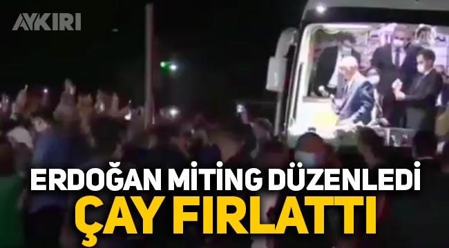 Erdoğan, Gaziantep'te miting düzenledi, vatandaşlara çay fırlattı