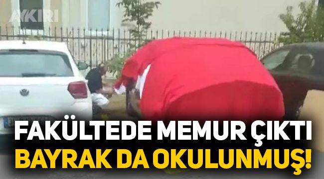 Doludan korumak için otomobiline Türk bayrağı seren şahıs gözaltına alındı