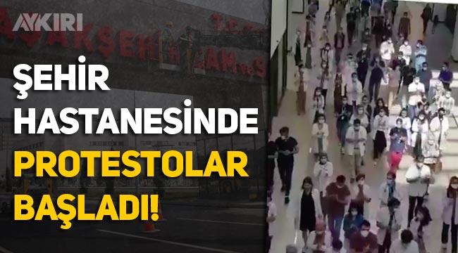 Erdoğan'ın açtığı Başakşehir Şehir Hastanesi Çam ve Sakura'da protestolar başladı: Ek ödemelerimizi istiyoruz