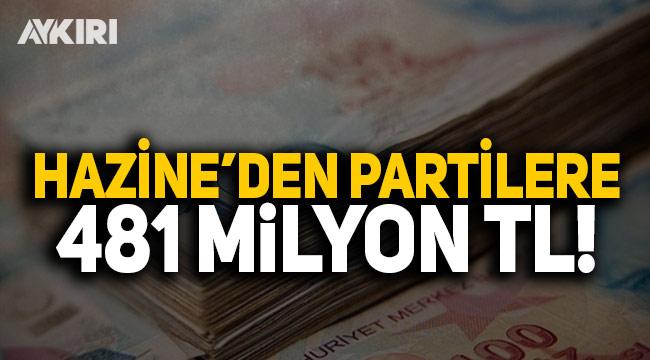 Hazine'den 5 siyasi partiye 481 milyon TL ödenecek