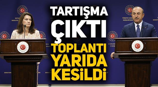 Mevlüt Çavuşoğlu ve İsveç Dışişleri Bakanı'nın toplantısında gerginlik çıktı, yarıda kesildi!