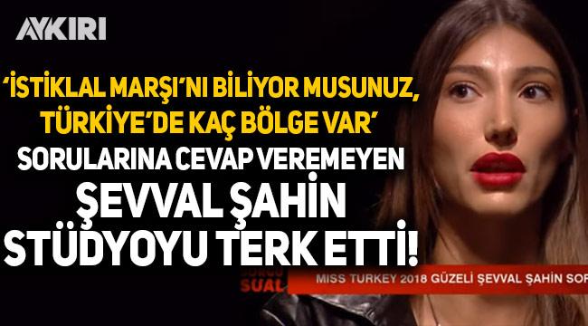 Türkiye güzeli Şevval Şahin, 'İstiklal Marşı'nı biliyor musunuz? Fahrettin Koca'yı tanıyor musunuz?' sorularına cevap veremedi, stüdyoyu terk etti