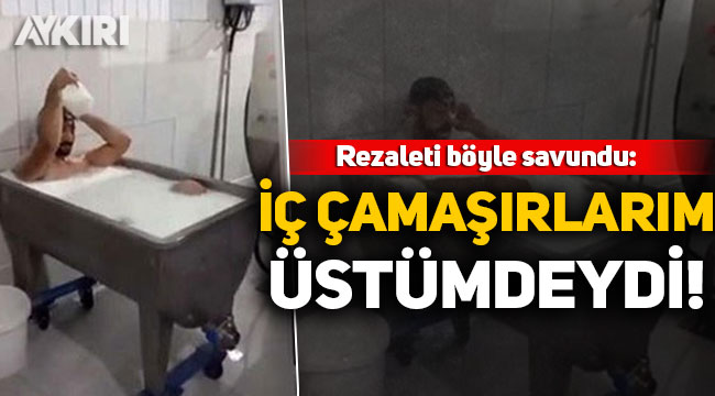 Konya'da bir fabrikada süt banyosu yapan işçi: İç çamaşırlarım üstümdeydi