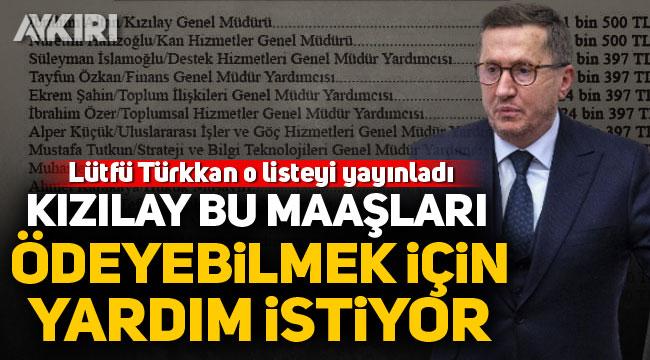 """Lütfü Türkkan o listeyi yayınladı: """"Kızılay bu maaşları ödeyebilmek için yardım istiyor"""""""