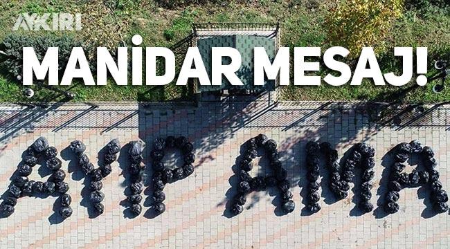 Temizlik işçileri çevreyi kirletenlere çöp torbalarıyla mesaj verdi