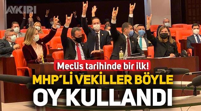 MHP'li vekiller oylarını Bozkurt yaparak kullandı