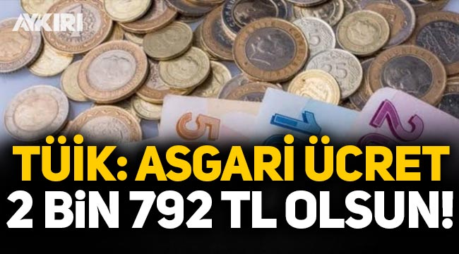 TÜİK asgari ücret önerisini açıkladı: 2 bin 792 TL