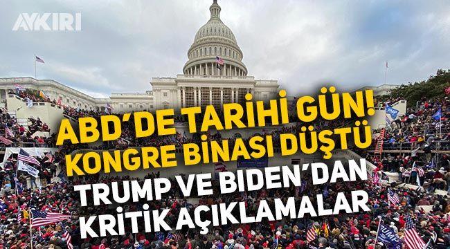 ABD'de neler oluyor!Trump taraftarları kongre binasını ele geçirdi, Biden ve Trump'tan üst üste açıklamalar