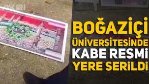 Boğaziçi Üniversitesi'nde Kabe provokasyonu, LGBT'nin açık hava sergisinde Kabe resmi yere serildi, üzerine LGBT bayrağı eklendi