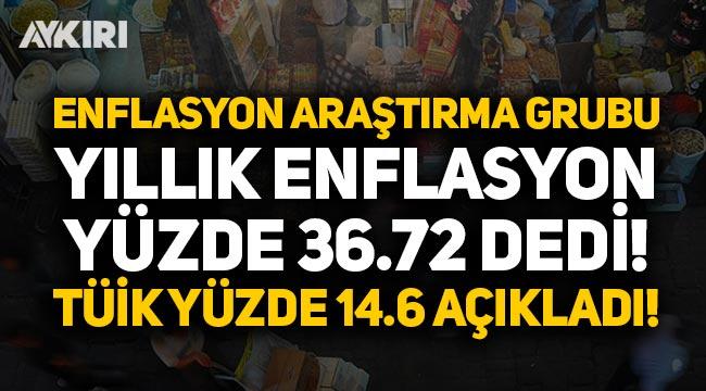 Enflasyon Araştırma Grubu 'yıllık enflasyon yüzde 36.72' dedi, TÜİK yüzde 14.6 açıkladı