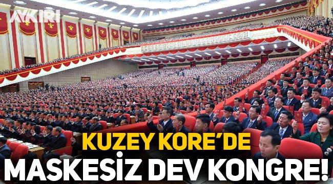 Hiç Covid-19 vakası görülmedi: Kuzey Kore'de 'maskesiz' dev kongre!