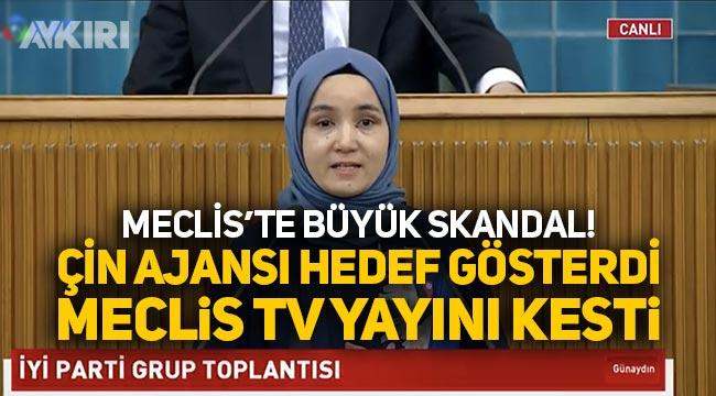 Meral Akşener, kürsüyü Uygur Türk'ü kıza bıraktı, Çin ajansı hedef gösterdi, TBMM TV yayını kesti
