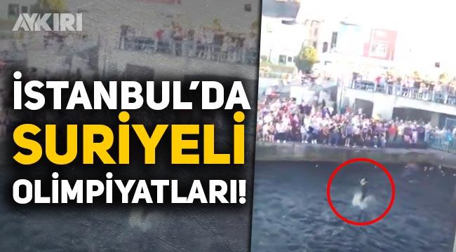 İstanbul'da Suriyeli Olimpiyatları! Suriyeliler Eminönü'nde toplanıp, denize atladı!