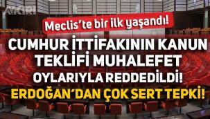 Cumhur İttifakı Meclis'e gelmedi, kanun muhalefetin oylarıyla reddedildi
