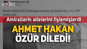 Amirallerin ailelerini fişleyen Hürriyet'in Genel Yayın Yönetmeni Ahmet Hakan özür diledi