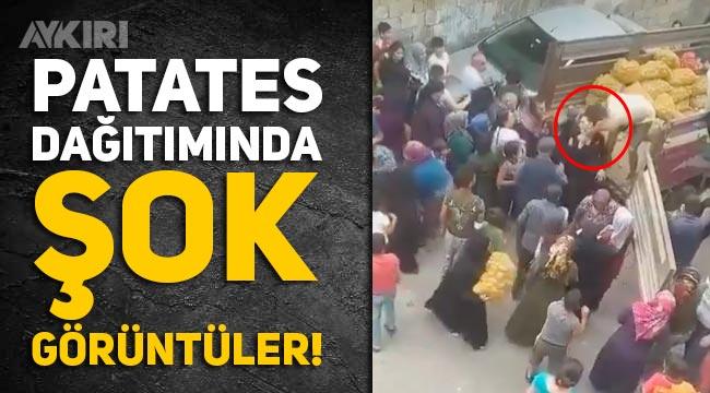 Gaziantep'teki patates dağıtımında şok görüntüler: İzdiham çıktı, görevli çocuğu darp etti