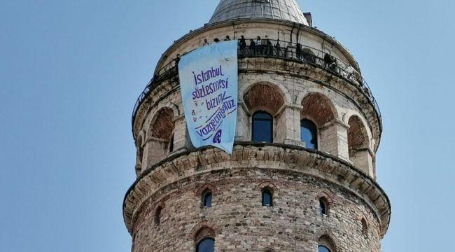 """İstanbul, """"İstanbul Sözleşmesi bizim"""" pankartlarıyla donatıldı"""
