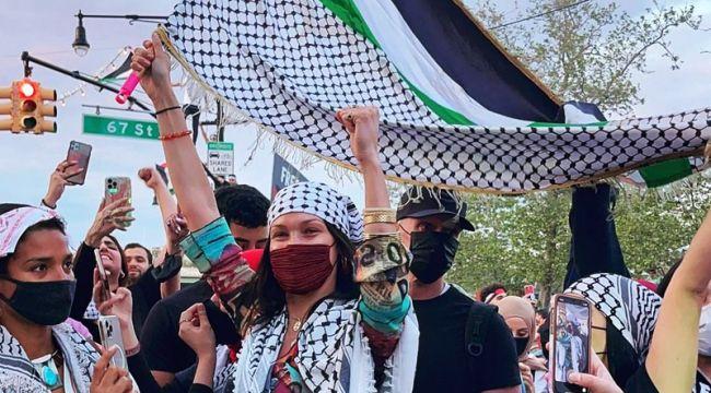 Bella Hadid, Filistin'e destek yürüyüşüne katıldı, İsrail'den tepki geldi!