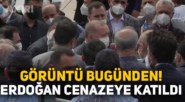 Erdoğan tam kısıtlamada kalabalık bir grupla cenaze namazına katıldı
