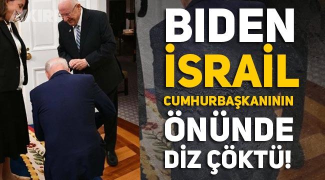 Biden, İsrail Cumhurbaşkanının önünde diz çöktü