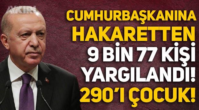 Erdoğan'a hakaretten 9 bin 773 kişi yargılandı, 290'ı çocuk!