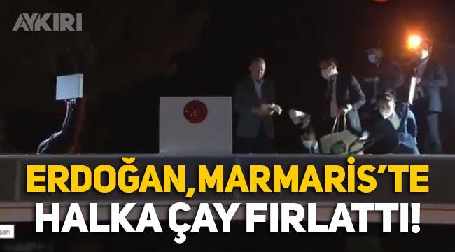 Erdoğan, yangınla sarsılan Marmaris'te vatandaşlara çay fırlattı!