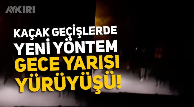 Kaçakların yürüyüşü geceleri devam ediyor: Van Erciş'ten gelen yeni görüntüler!