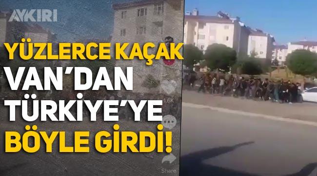 Şok görüntüler: Yüzlerce kaçak göçmen, Van'dan Türkiye'ye girdi!