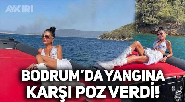 Süreyya Yalçın, Bodrum'da yangına karşı poz verdi!