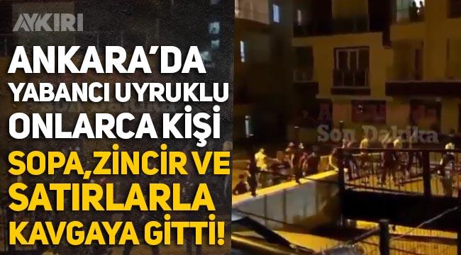 Ankara Doğantepe'de şok görüntüler: Yabancı uyruklu şahıslar sopalarla kavgaya gitti, polis çöp kutusunda silah aradı!