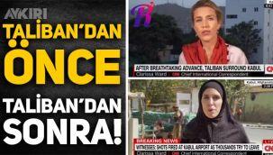 CNN muhabirinin Taliban'dan önceki ve sonraki yayınları böyle görüntülendi: Çarşafa büründü!