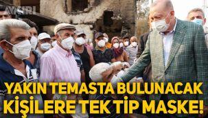 Erdoğan'a yakın temasta bulunacak herkes tek tip maske takıyor!