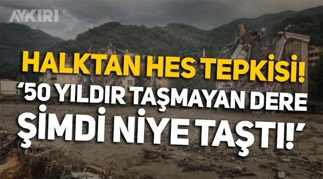 """Kastamonu Bozkurt'ta vatandaştan HES'e tepki: """"50 yıldır taşmayan dere, şimdi niye taştı? HES yokken baskın olmazdı!"""""""