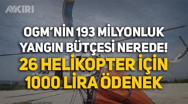 Orman Genel Müdürlüğünün 193 milyonluk yangın bütçesi nerede? 26 helikopter için 1000 lira ödenek!