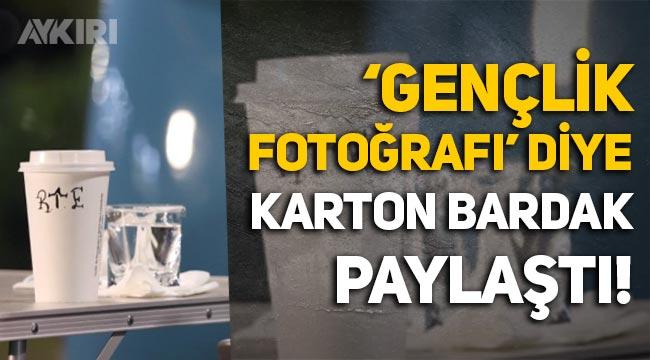 """AKP'li Hamza Dağ, """"Gençlik fotoğrafı"""" diyerek karton bardak paylaştı!"""