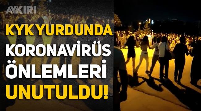 Antalya'da KYK yurdunda koronavirüs önlemleri unutuldu: Yüzlerce öğrenci halay çekip dans etti