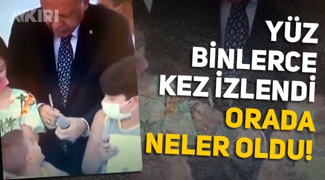 Erdoğan'ın parmağıyla küçük çocuğun kafasına vurduğu görüntüler yüz binlerce kez izlendi