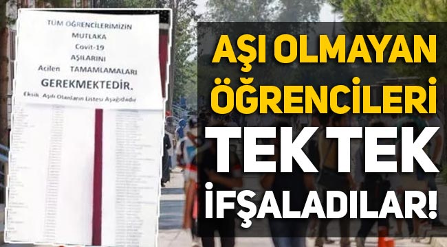 Konya Selçuk Üniversitesi'nde aşı olmayan öğrenciler ifşa edildi