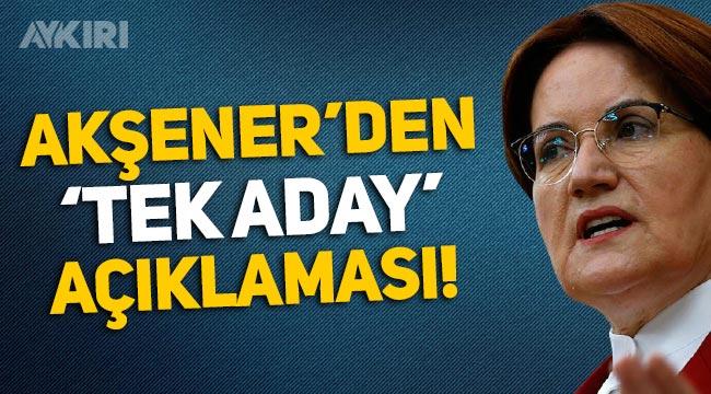 Meral Akşener: Cumhurbaşkanlığı seçimine tek aday ile gidilmeli
