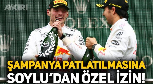 Formula 1'de 'şampanya' patlatılmasına Süleyman Soylu özel izin vermiş!