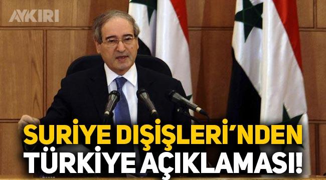 Suriye Dışişleri'nden Türkiye açıklaması